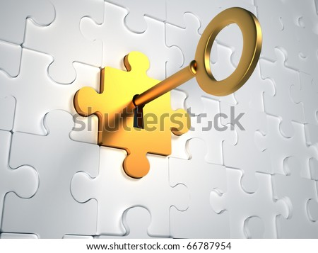 Golden key and puzzle pieces - 3d render illustration - stock photo