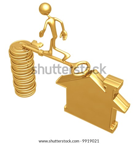 Golden Key Bridge Between Home And Euro Coins - stock photo