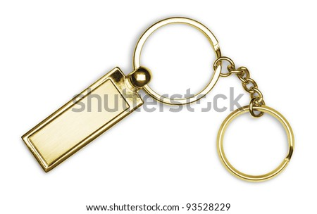 Golden key chain with chain and rings isolated on white background