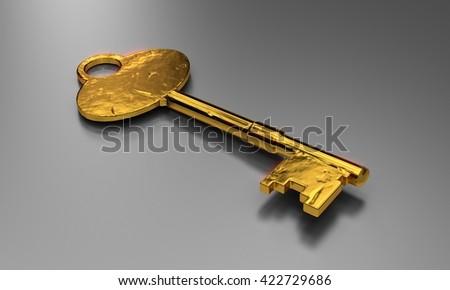 Golden key 3D illustration. to unlock treasures. - stock photo