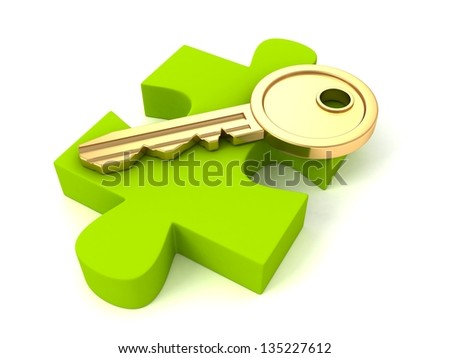 Golden key of success on green puzzle piece - stock photo