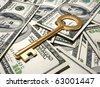 Golden key sitting on dollars pile - 3d render - stock photo