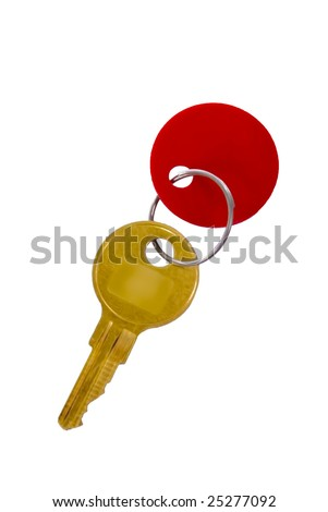 golden key with red tag