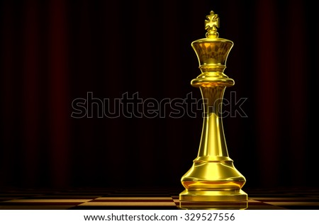 Golden king on a chess board background luxury. - stock photo