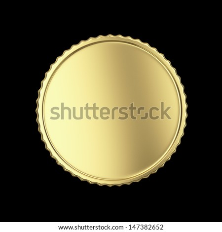 Golden label on black isolated with clipping path