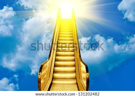 golden ladder to blue sky sunset - stock photo
