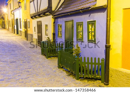 Golden Lane at Prague Castle - stock photo