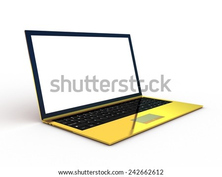 Golden laptop on white background - stock photo