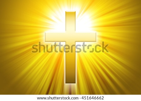 Golden latin cross with sunbeams. Christian cross, the symbol of Christianity, also called  Roman cross in front of beams of light. - stock photo