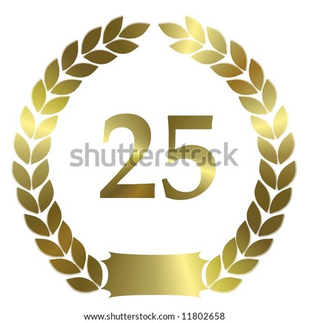 golden laurel wreath 25 years