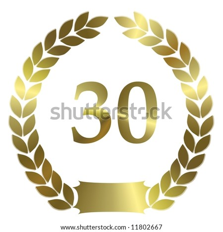 golden laurel wreath 30 years