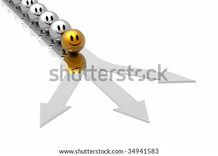 golden leader in business way - stock photo