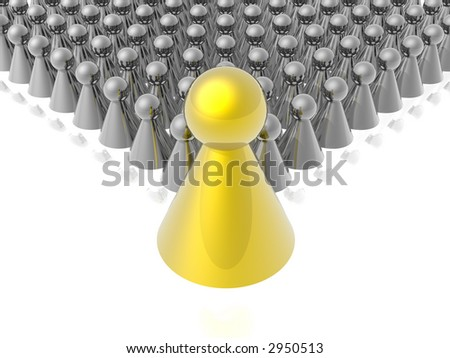 Golden leader of management - stock photo
