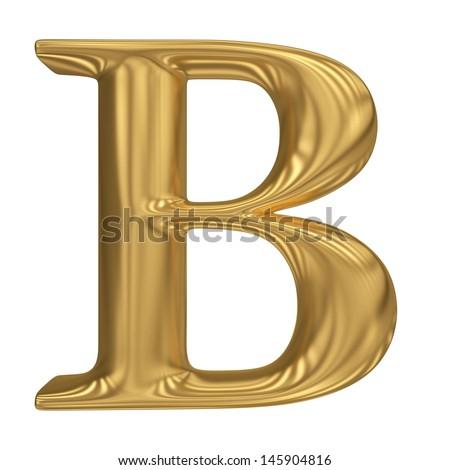 Golden letter B. Gold solid alphabet, high quality 3d render - stock photo