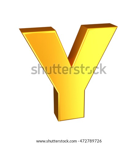Golden letter. High quality 3D render. Isolated on the white background.