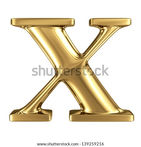 Golden letter x lowercase high quality 3d render isolated on white - stock photo