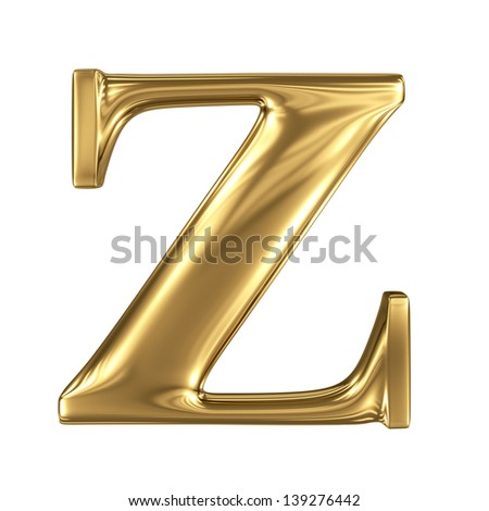 Golden letter z lowercase high quality 3d render isolated on white - stock photo