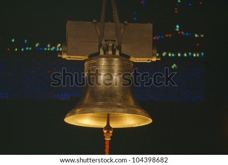 Golden Liberty Bell at night, Washington DC - stock photo