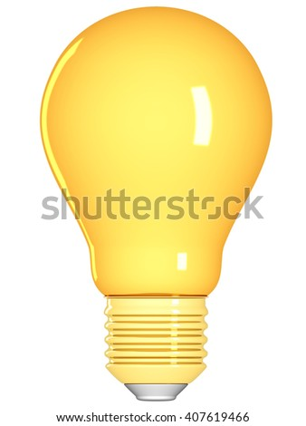 Golden light bulb isolated on a white background. 3D illustration. - stock photo