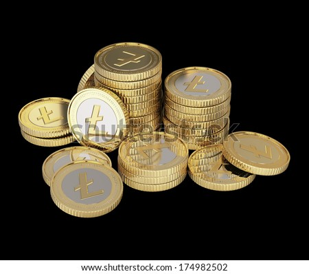 Golden Litecoin digital currency coin
