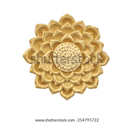 Golden lotus wood carving on white background - stock photo