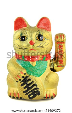 Golden lucky cat on white