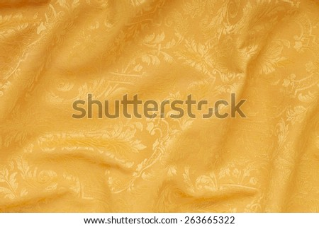 Golden luxury damask tapestry wavy texture background