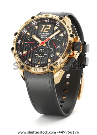Golden luxury wristwatch with black clock face and rubber wristlet on white background 3d - stock photo