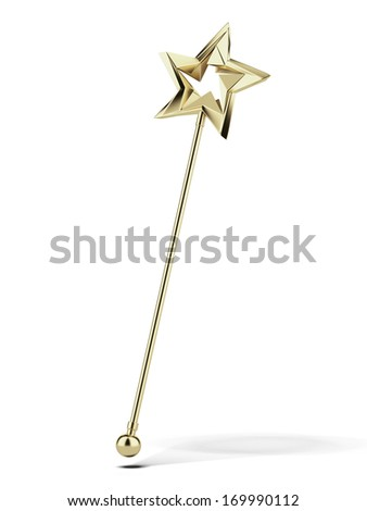 Golden magic wand - stock photo