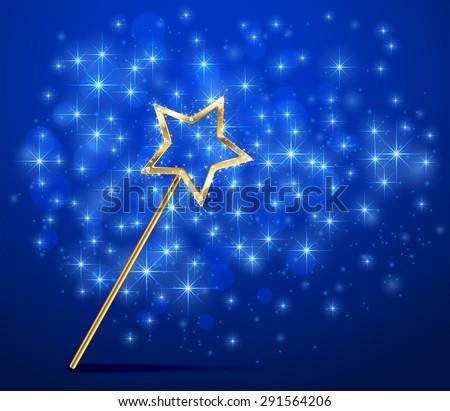 Golden magic wand on blue sparkle background, illustration. - stock photo