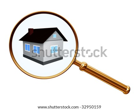 golden magnify with house model - stock photo