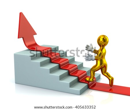 Golden man climbs up stairs on red arrow isolated on white background - stock photo