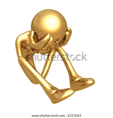 Golden Man Crying - stock photo