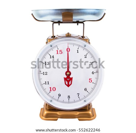 golden manual scale for measure on white background.Market scale isolated
