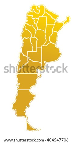 golden map of the argentinian state with white outline on white background with main internal borders - argentina map stylized - stock photo
