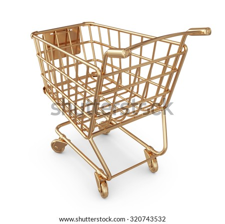 Golden market shopping cart 3D. Isolated on white background - stock photo