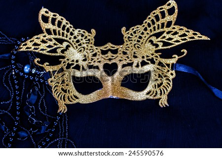 golden mask - stock photo