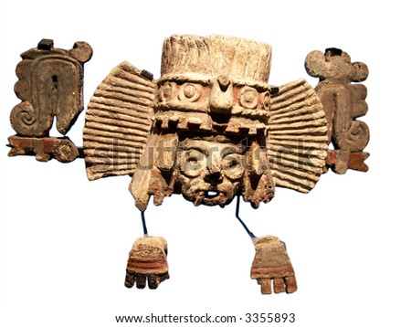 Golden mask of aztecs in museum of Tenochtitlan (Mexico) - stock photo