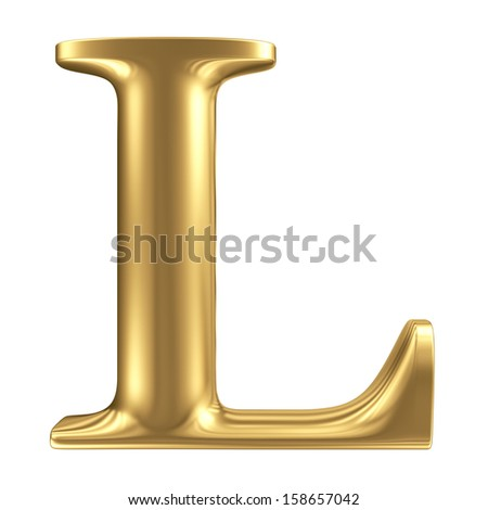 Golden matte letter L, jewellery font collection