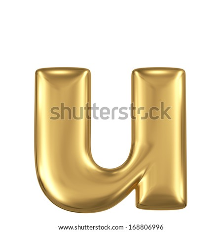 Golden matte lowercase letter u, jewellery font collection - stock photo
