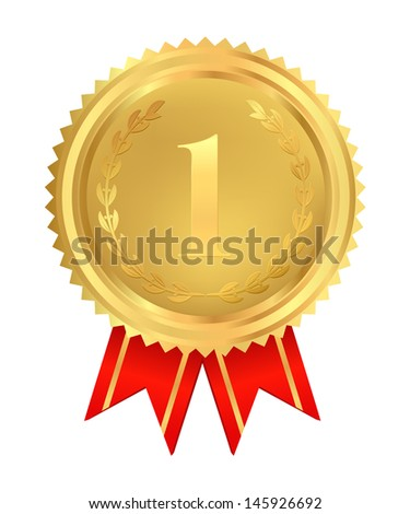 Golden medal of First place. Usable for certificate, diploma or different awards.Isolated Gold insignia with red ribbon (sign of winner). Illustration on white background. Vector in Portfolio
