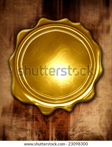 golden medal on a paper like background - stock photo