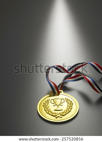 golden medal on the gray background - stock photo