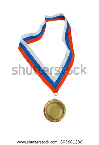 Golden medal with ribbon isolated on white - stock photo