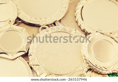 Golden medals background - stock photo