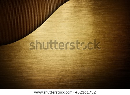 golden metal design with mesh background - stock photo