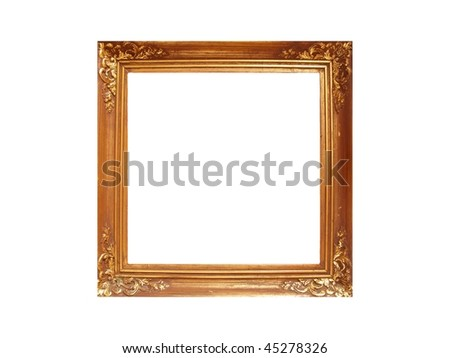 Golden metal frame with flower leaves decoration - stock photo
