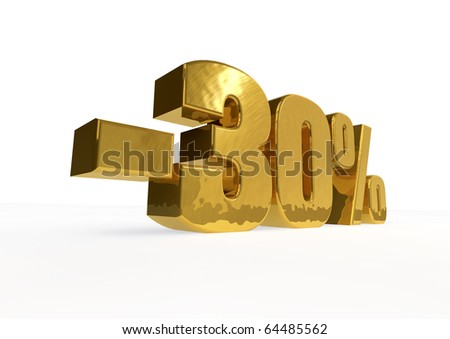 golden minus thirty percent - stock photo