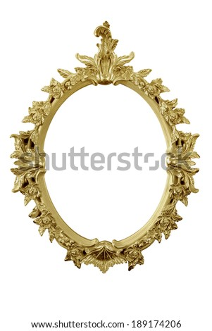 golden mirror frame isolated on white with partial remaining reflection - stock photo