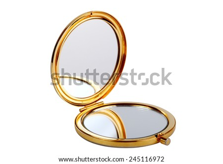 Golden mirror isolated on white